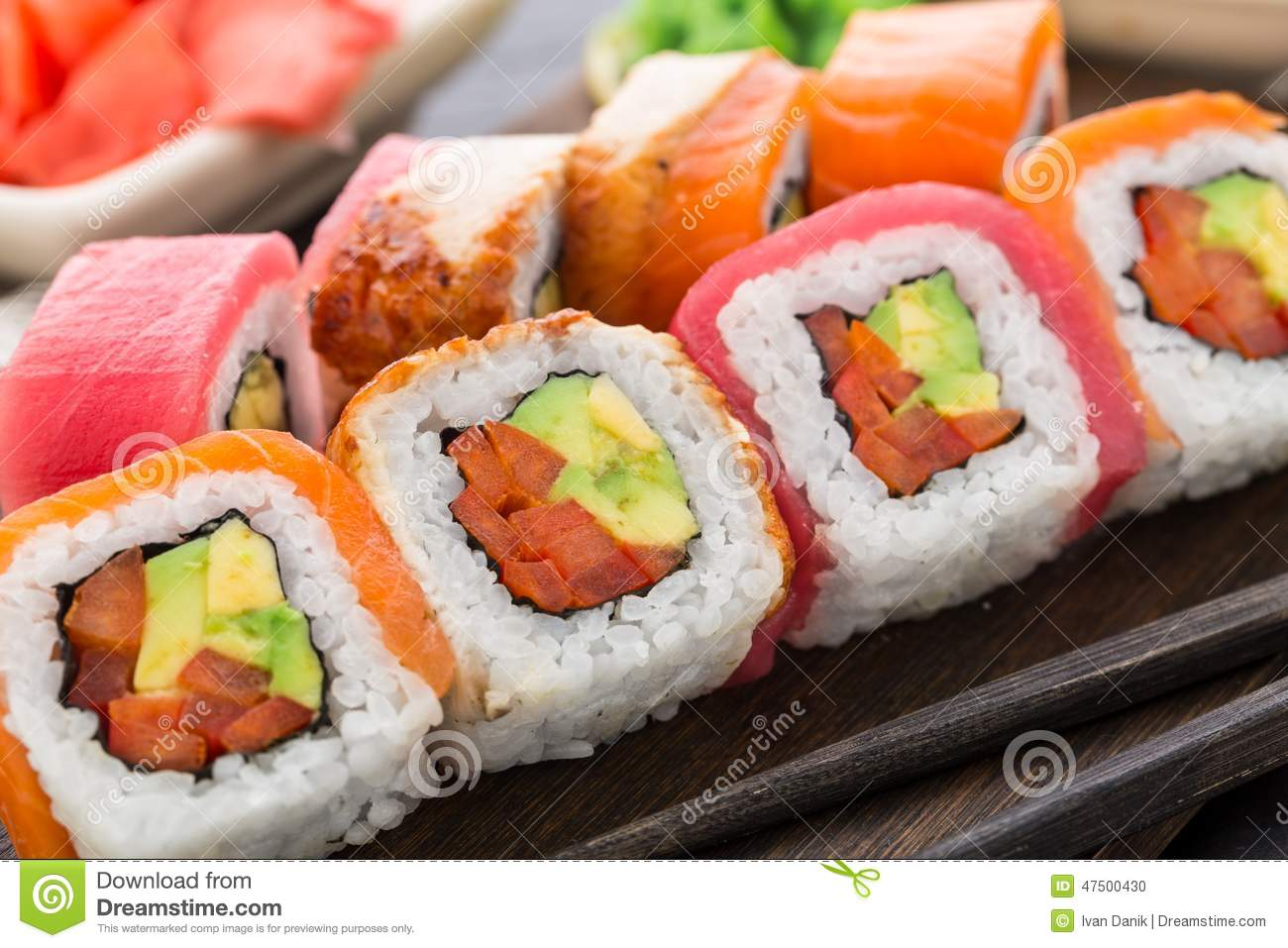 Rainbow Sushi Roll With Salmon, Tuna And Eel Stock Photo - Image ...