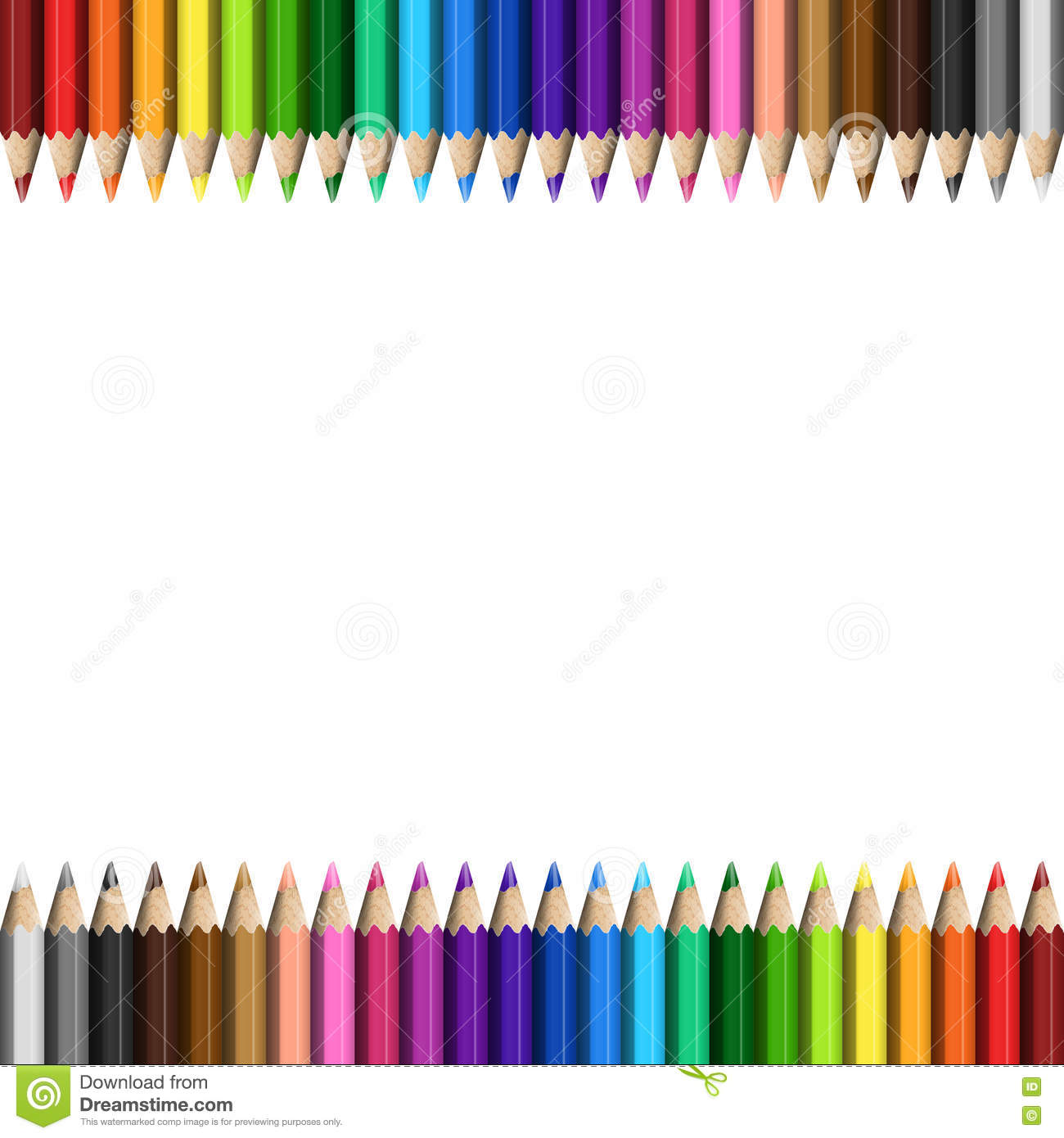 rainbow template colorful pencils stock vector illustration of