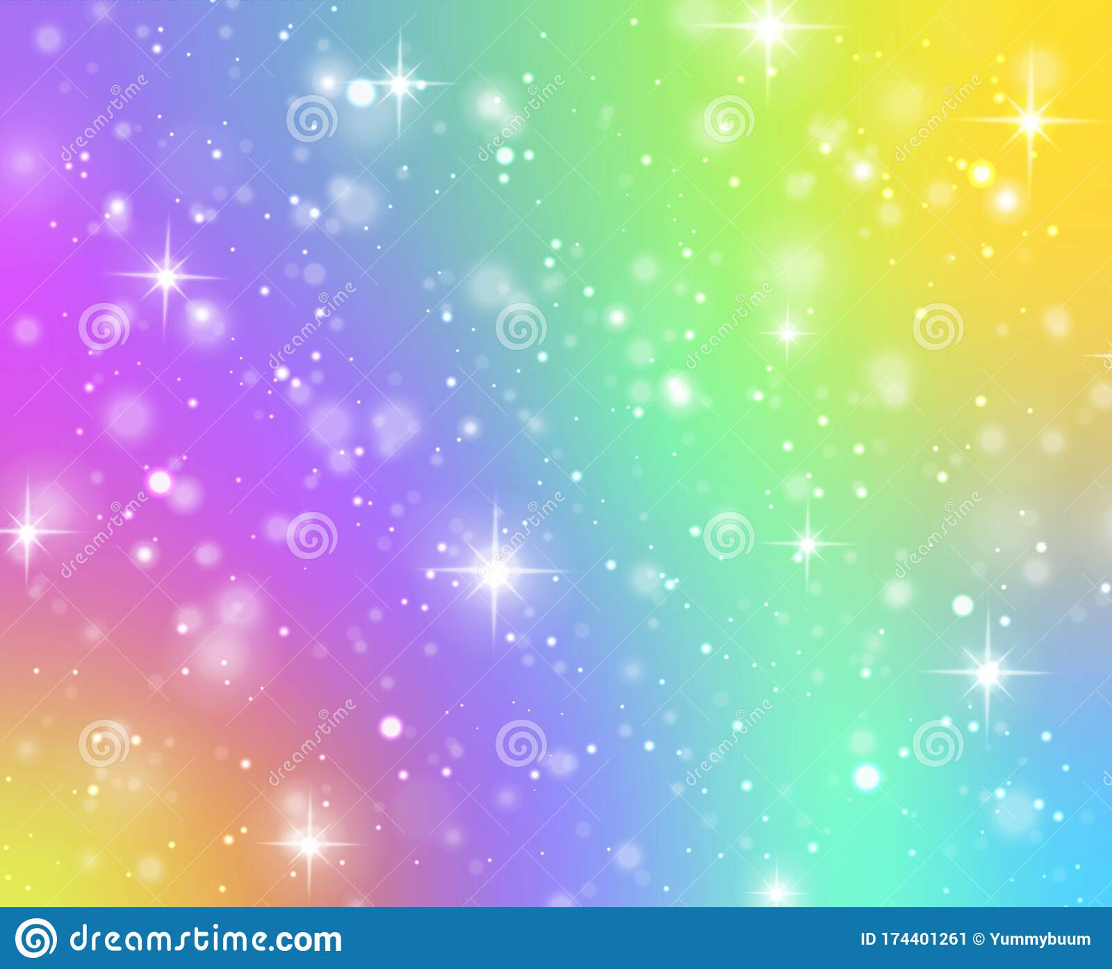 Rainbow Texture Fantasy Unicorn Galaxy Stars In Holographic Sky And Bokeh Iridescent Gradient Hologram With Glitter Stock Vector Illustration Of Coloring Paper 174401261