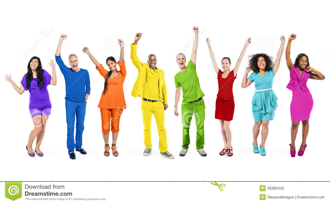 rainbow themed multiethnic people stock photo image
