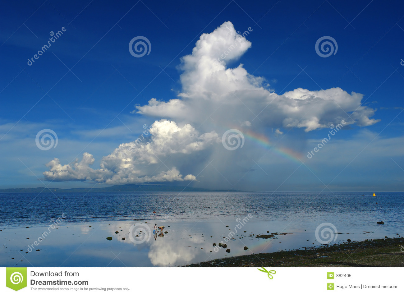Tropical Island Beach Ambience Sound: Rainbow And Thunderstorm Over A Tropical Island. Stock