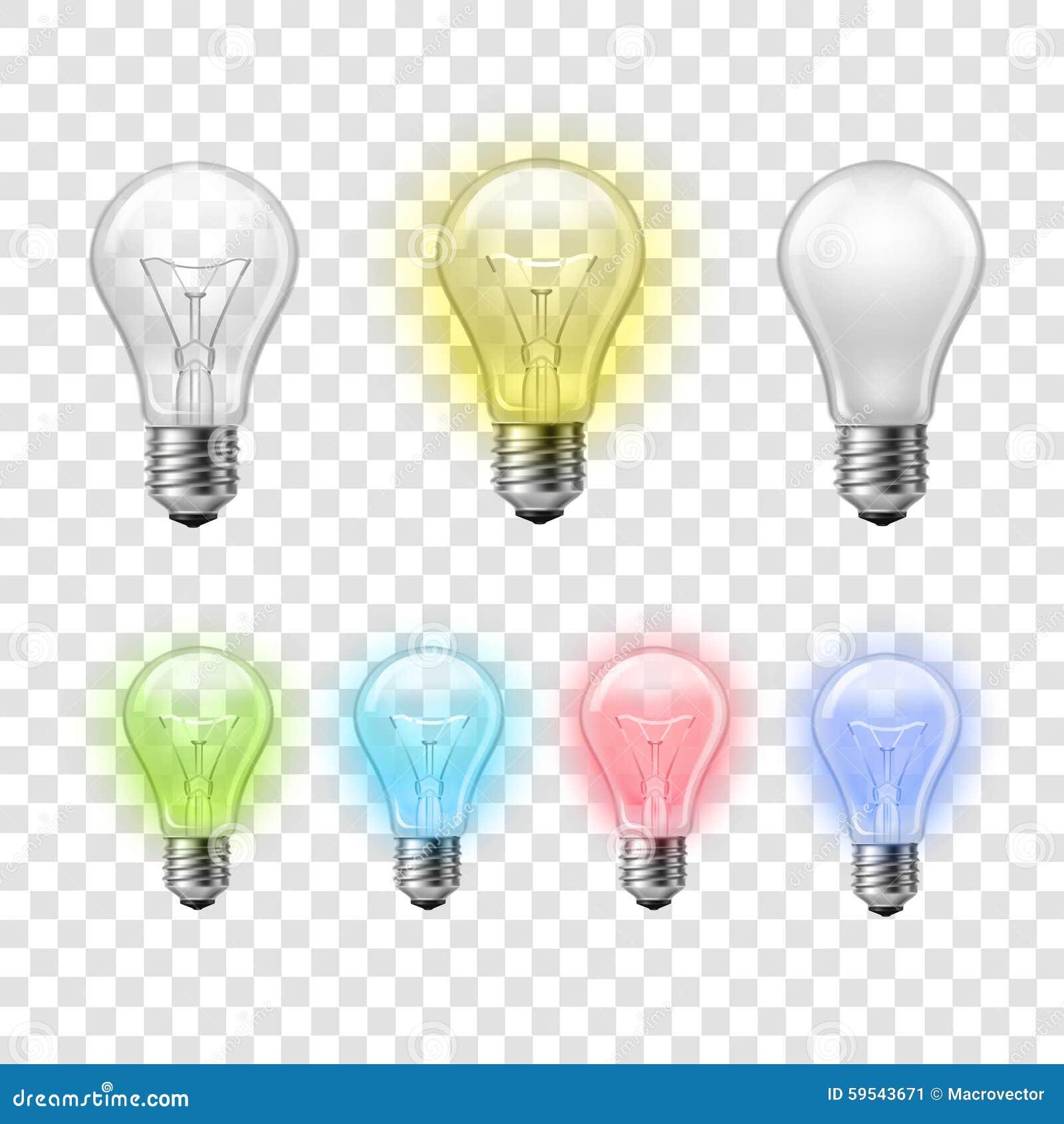 Rainbow Transparent Light Bulbs Set Background Stock Vector