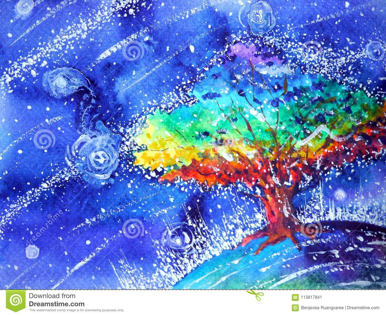 Rainbow tree color colorful watercolor painting blue night illustration