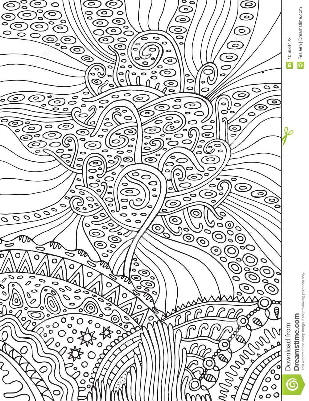Rainbow Tree Of Life Surreal Fantasy Psychedelic Coloring Page