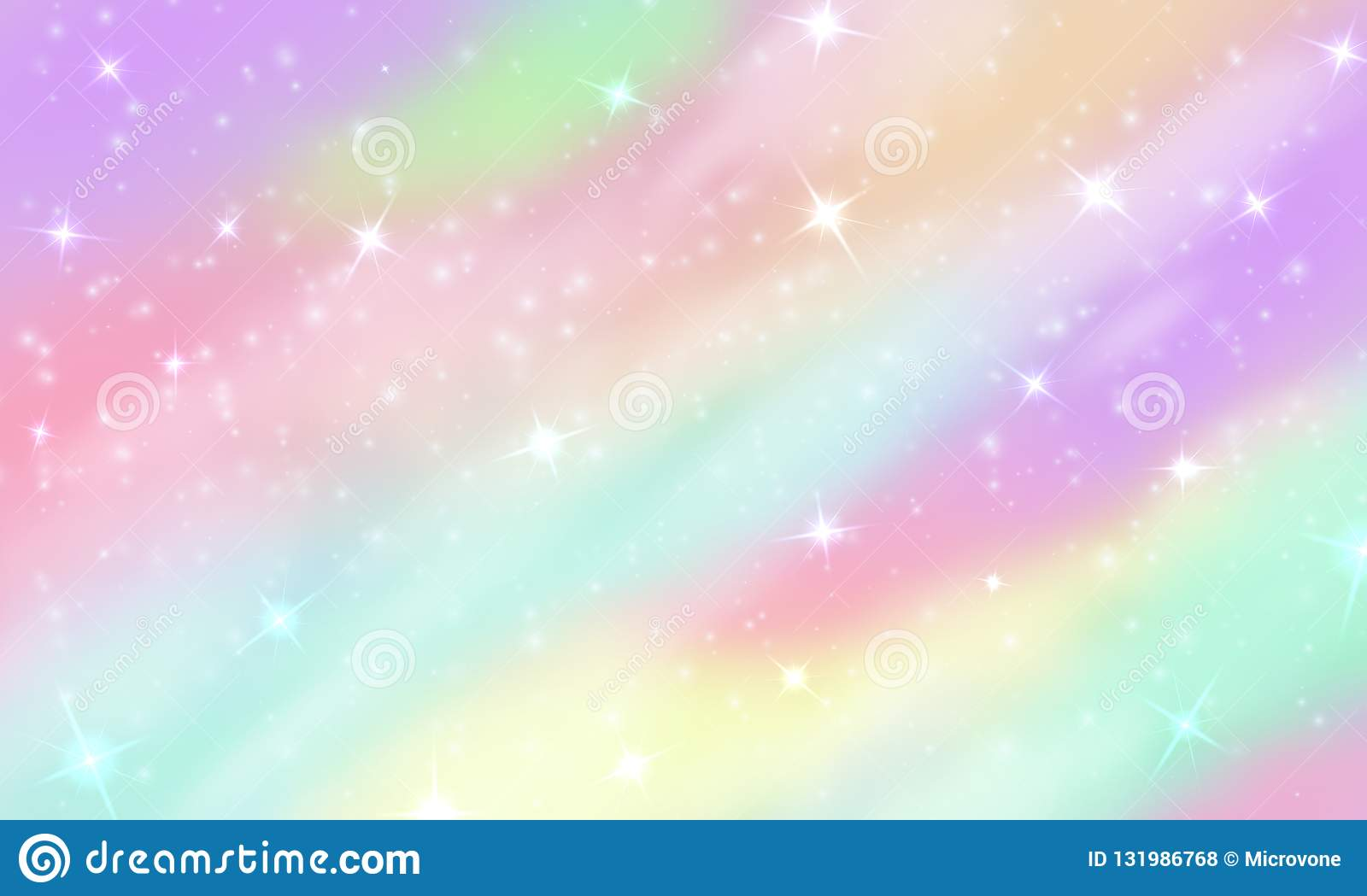 rainbow unicorn background mermaid glittering galaxy pastel colors stars bokeh magic pink holographic vector backdrop 131986768