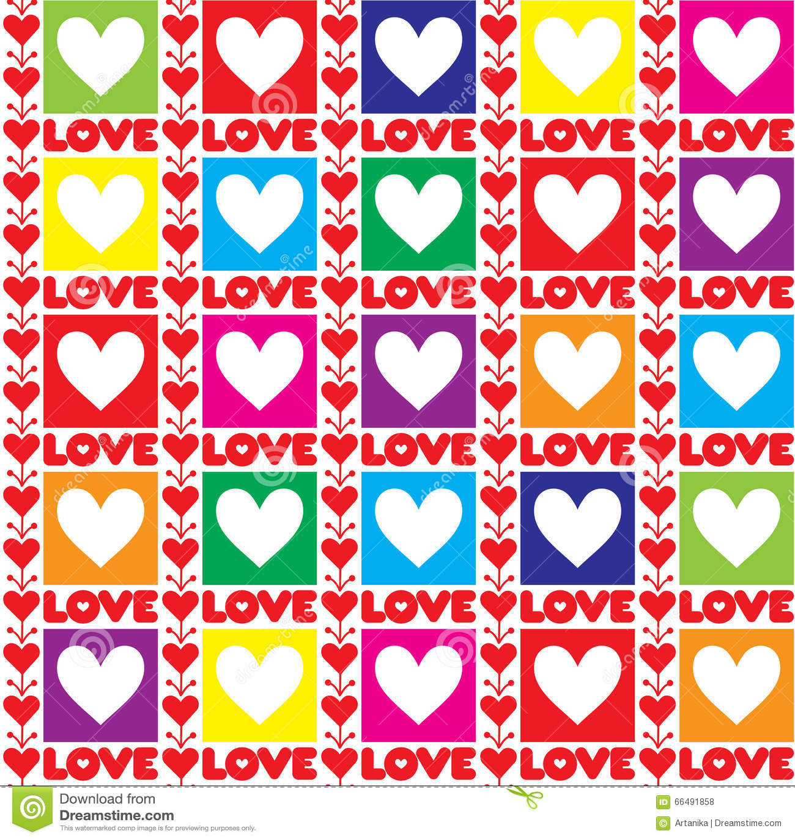 Rainbow valentine seamless background