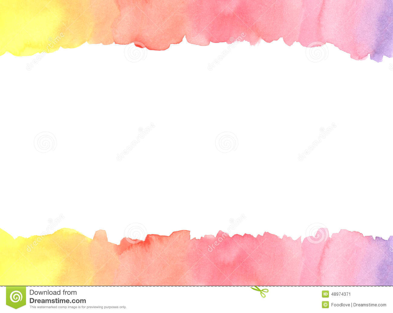 Rainbow Watercolor Frame Template Stock Illustration - Image: 48974371
