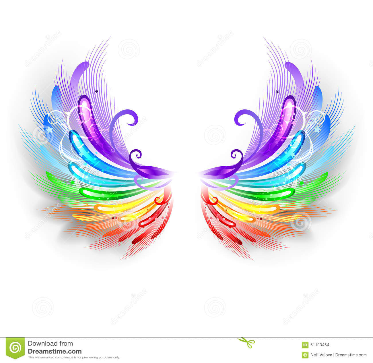 Rainbow Wings On A White Background Stock Vector - Image: 61103464