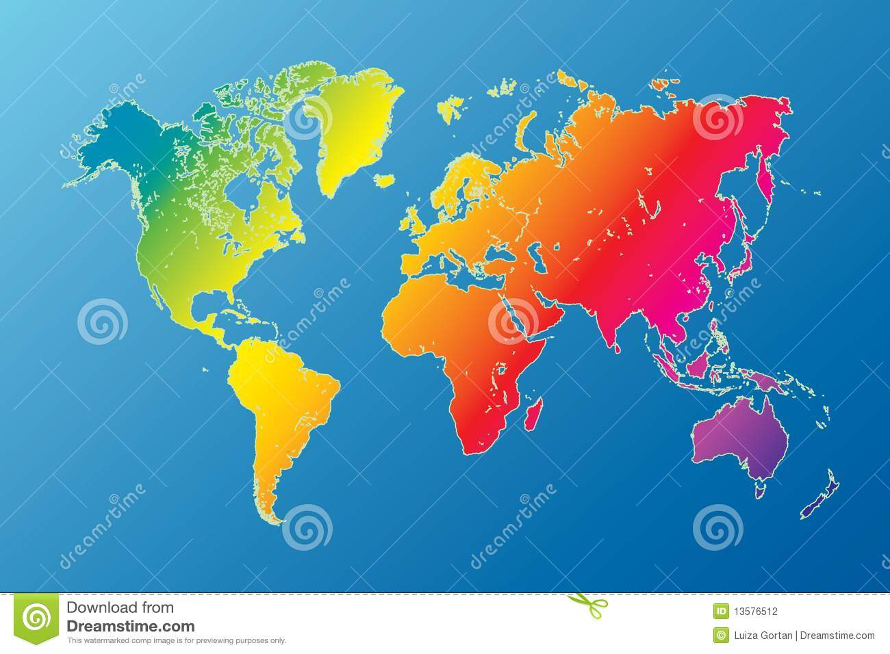 Rainbow World Map Highly Detailed Vector Stock Vector Illustration