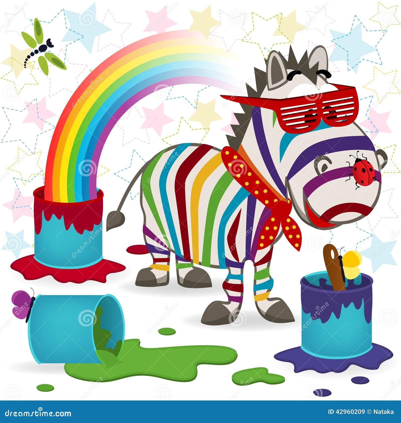 Rainbow Zebra Stock Vector Illustration Of Wallpaper 42960209