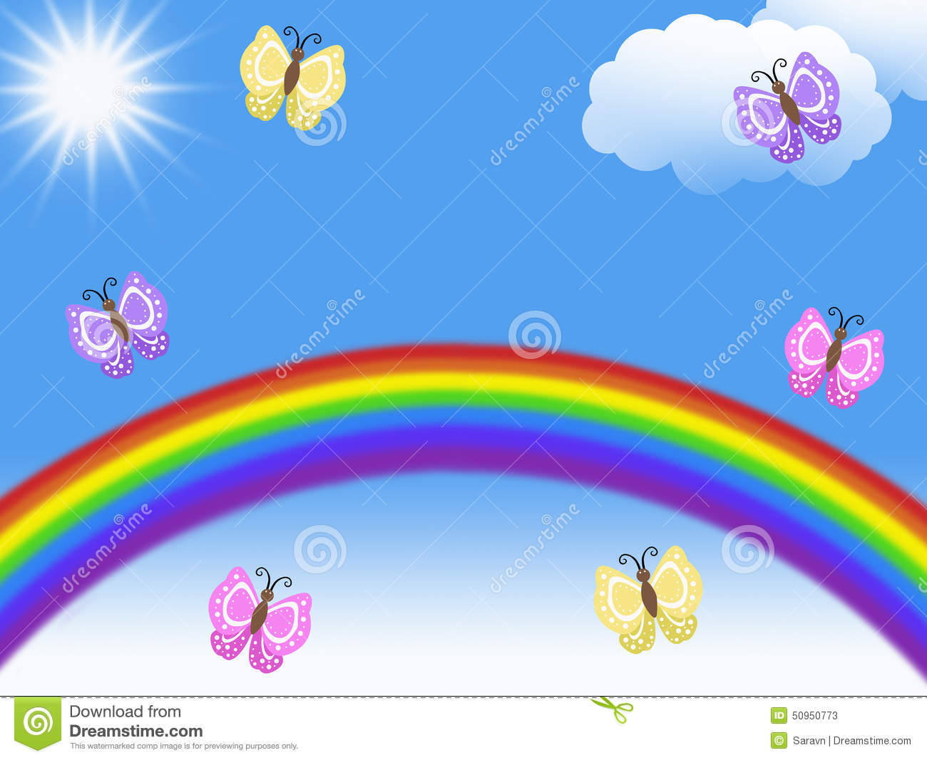 Rainbows And Butterflies Flying With Clouds And Sun And
