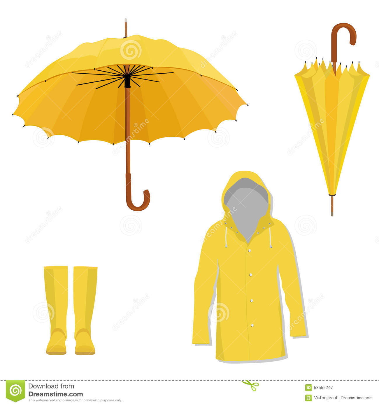 Boots fashion pic boots clip art - Raincoat Boots Umbrella Royalty Free Stock Photography