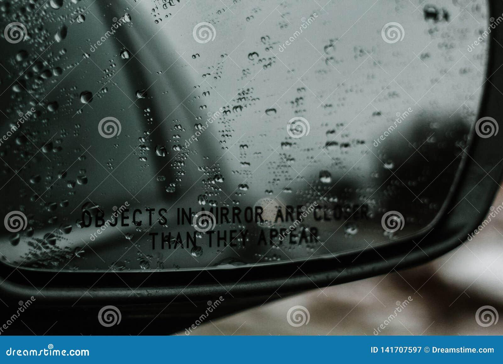 Raindrop on my rear view mirror