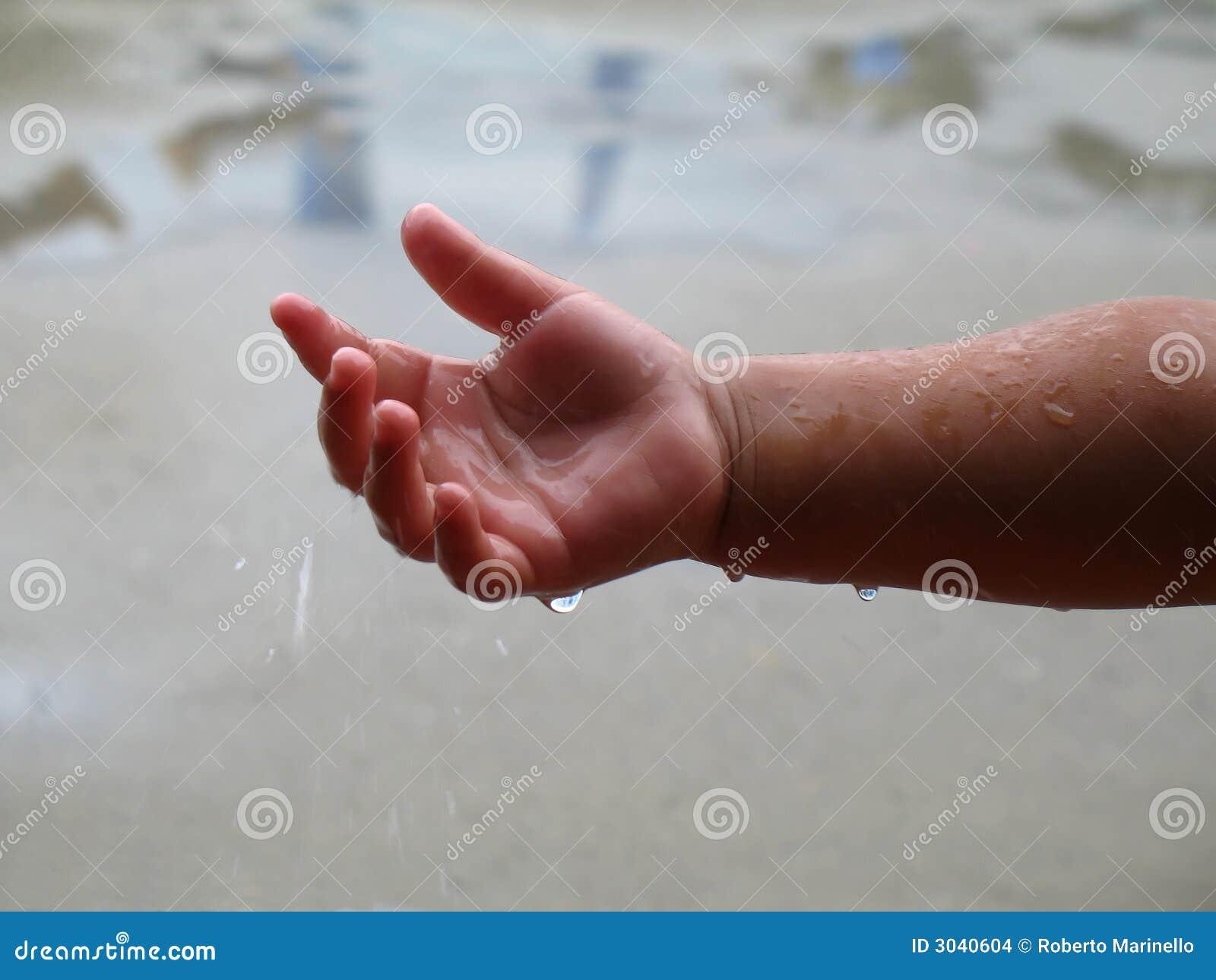 Raindrops child hand