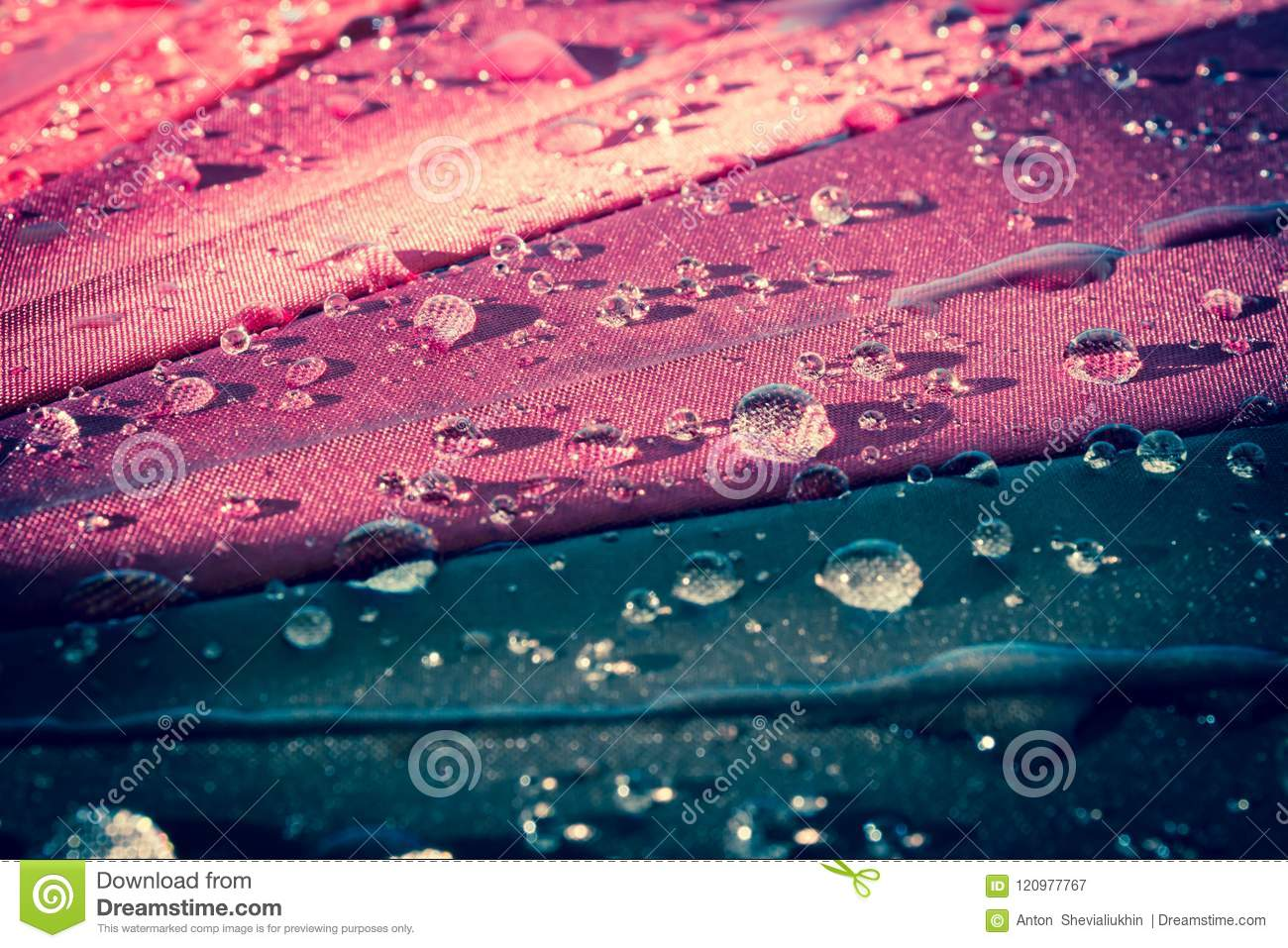 raindrops on a colorful umbrella with all the colors of the rainbow
