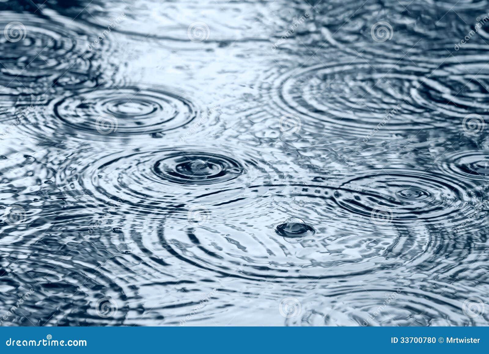 Raindrops On Puddle Stock Photo - Image: 33700780