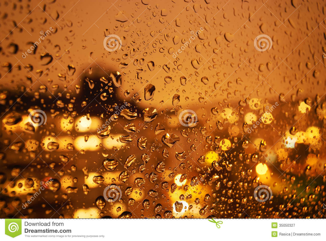 Raindrops On Window At Night In The City Royalty Free ...