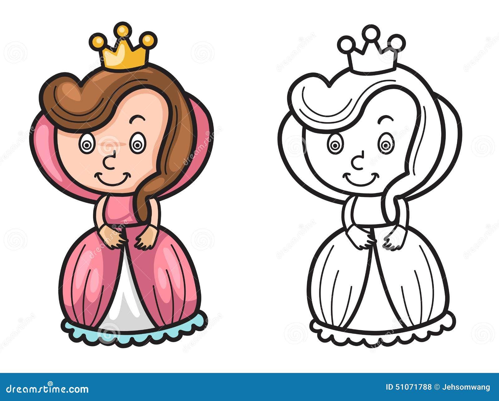 Rainha Colorida E Preto E Branco Para O Livro Para Colorir
