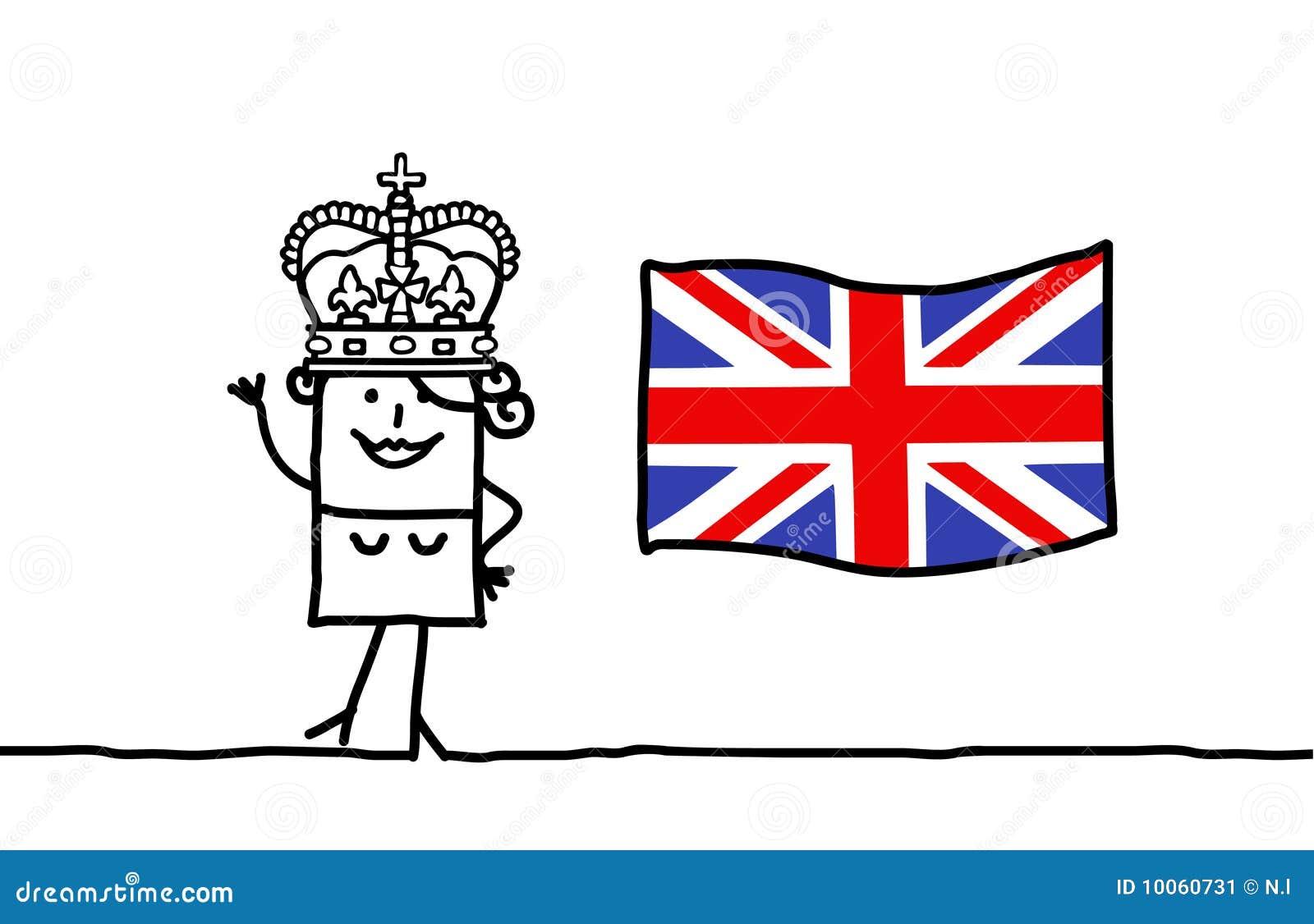 Rainha e e bandeira de Inglaterra