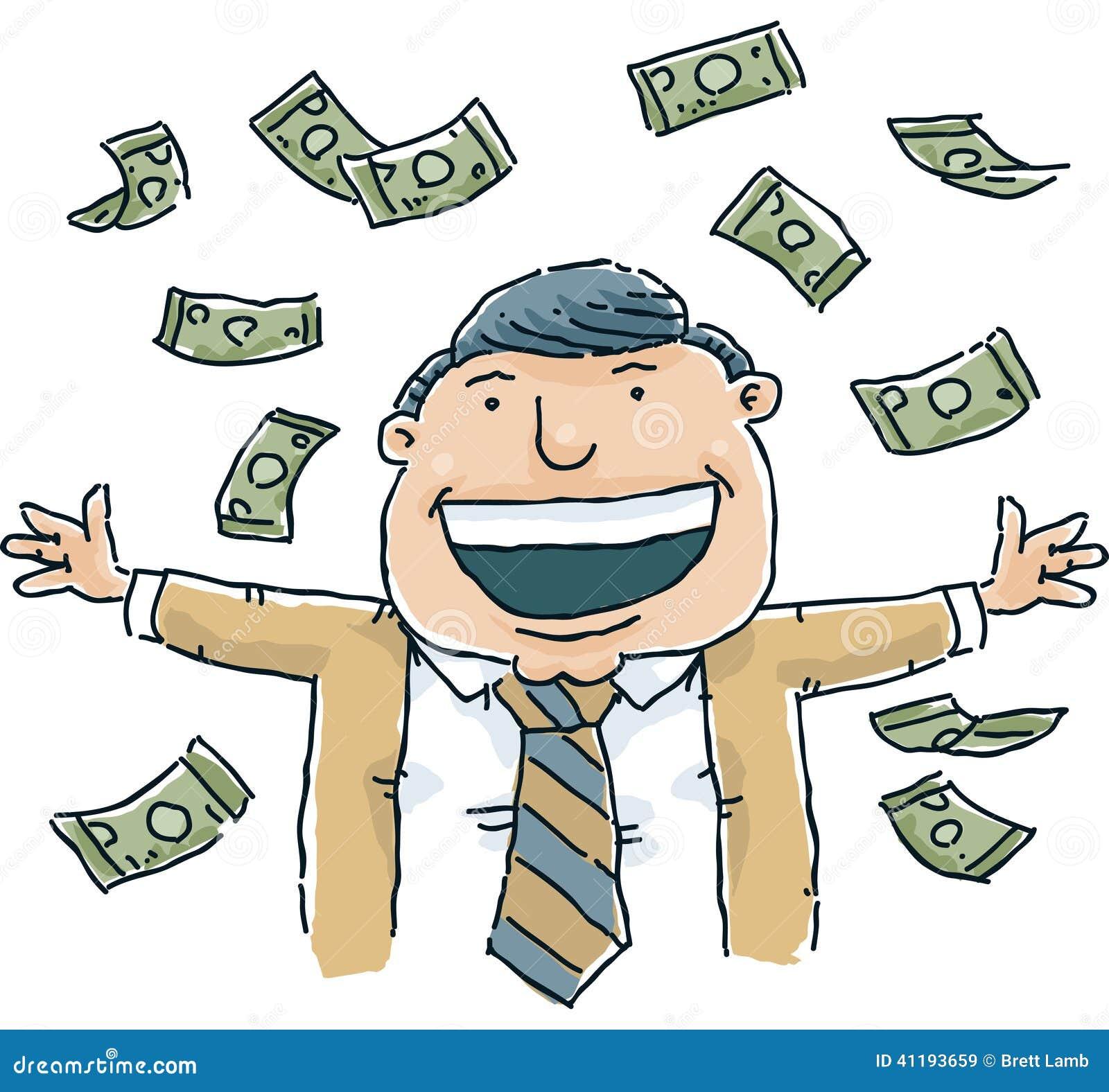 ... cartoon man celebrates as it rains cash money. mr: no; pr: no