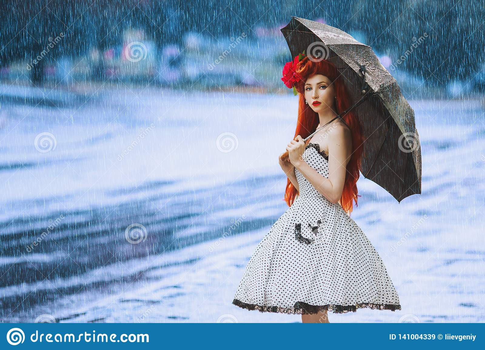 Raining cold climate. Autumn rain fall. Weather change. Sneeze girl in vintage dress hold umbrella. Climate change. Umbrella
