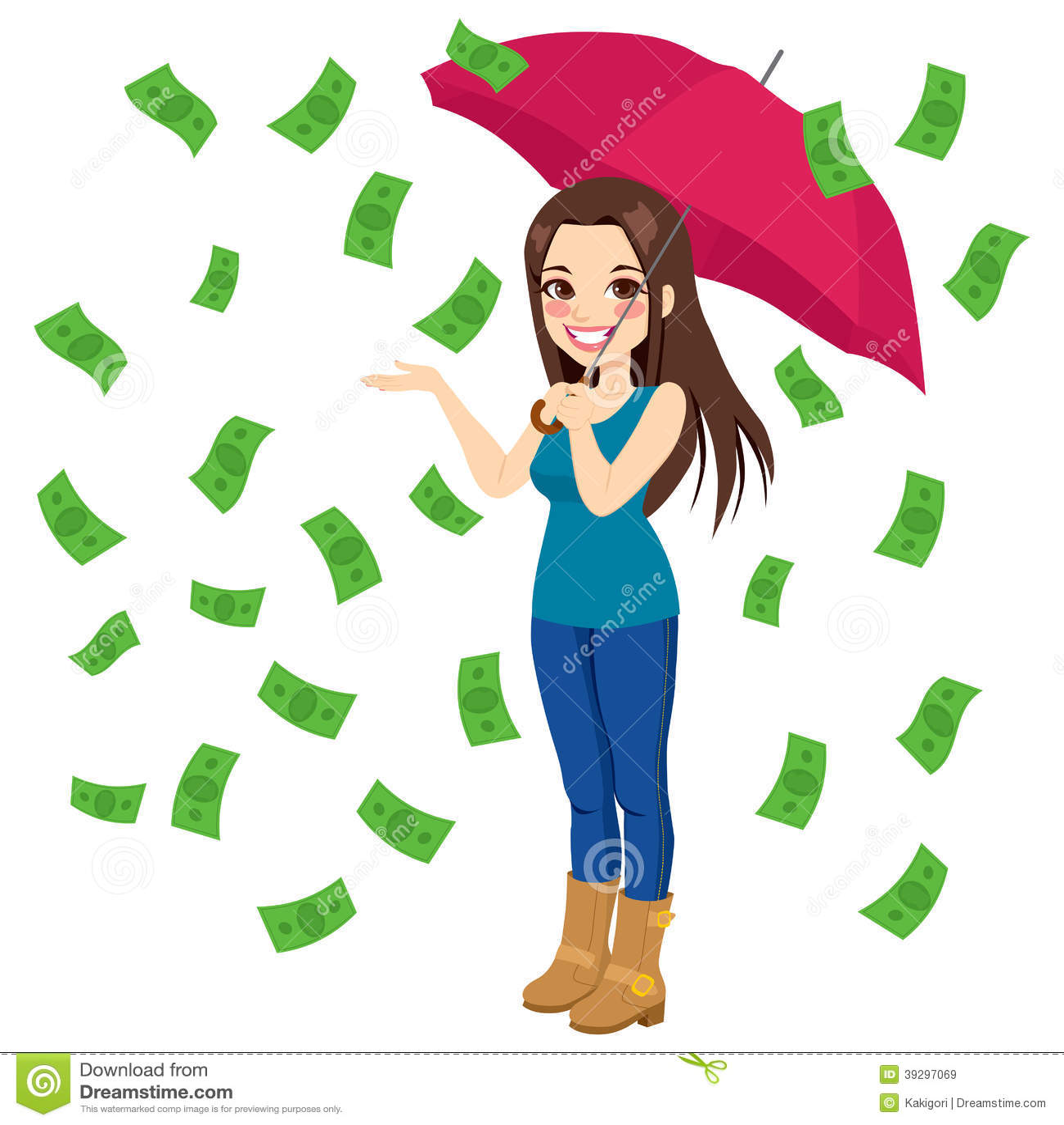 ... brunette woman holding big umbrella happy seeing raining money bills