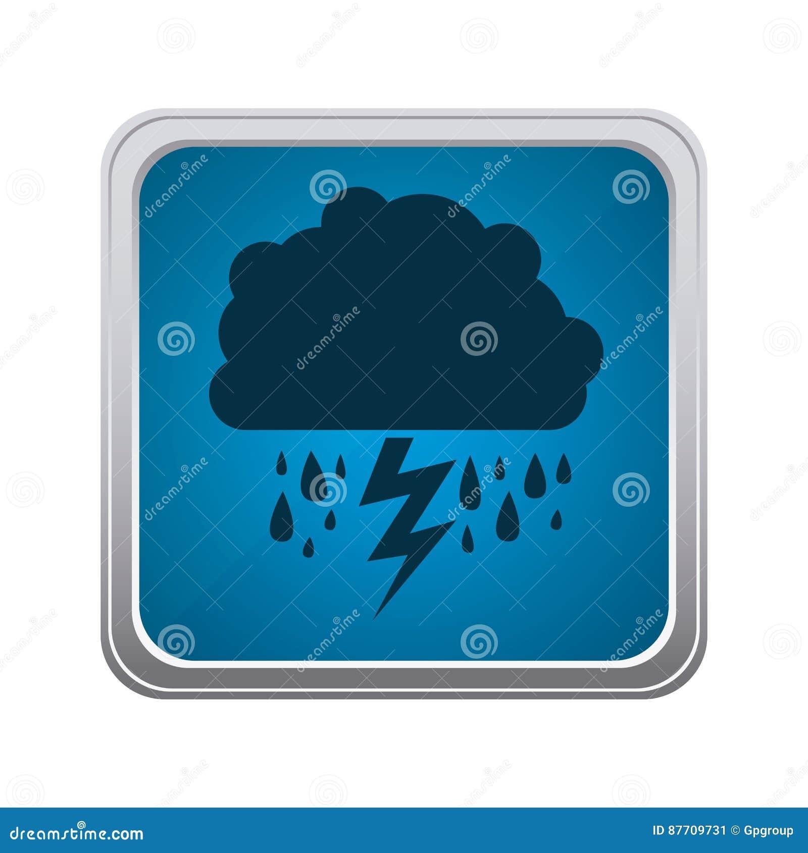 Rainning de nuage d emblème et icône bleues de rayon