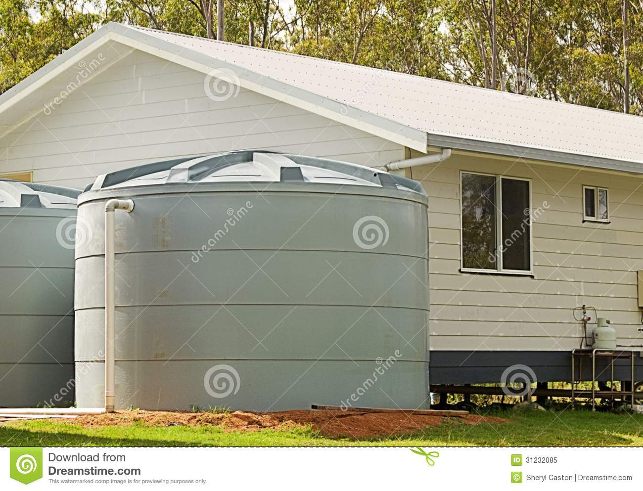 Rainwater conservation tanks on new house royalty free stock photo image 3 - Utilisation eau de pluie maison ...
