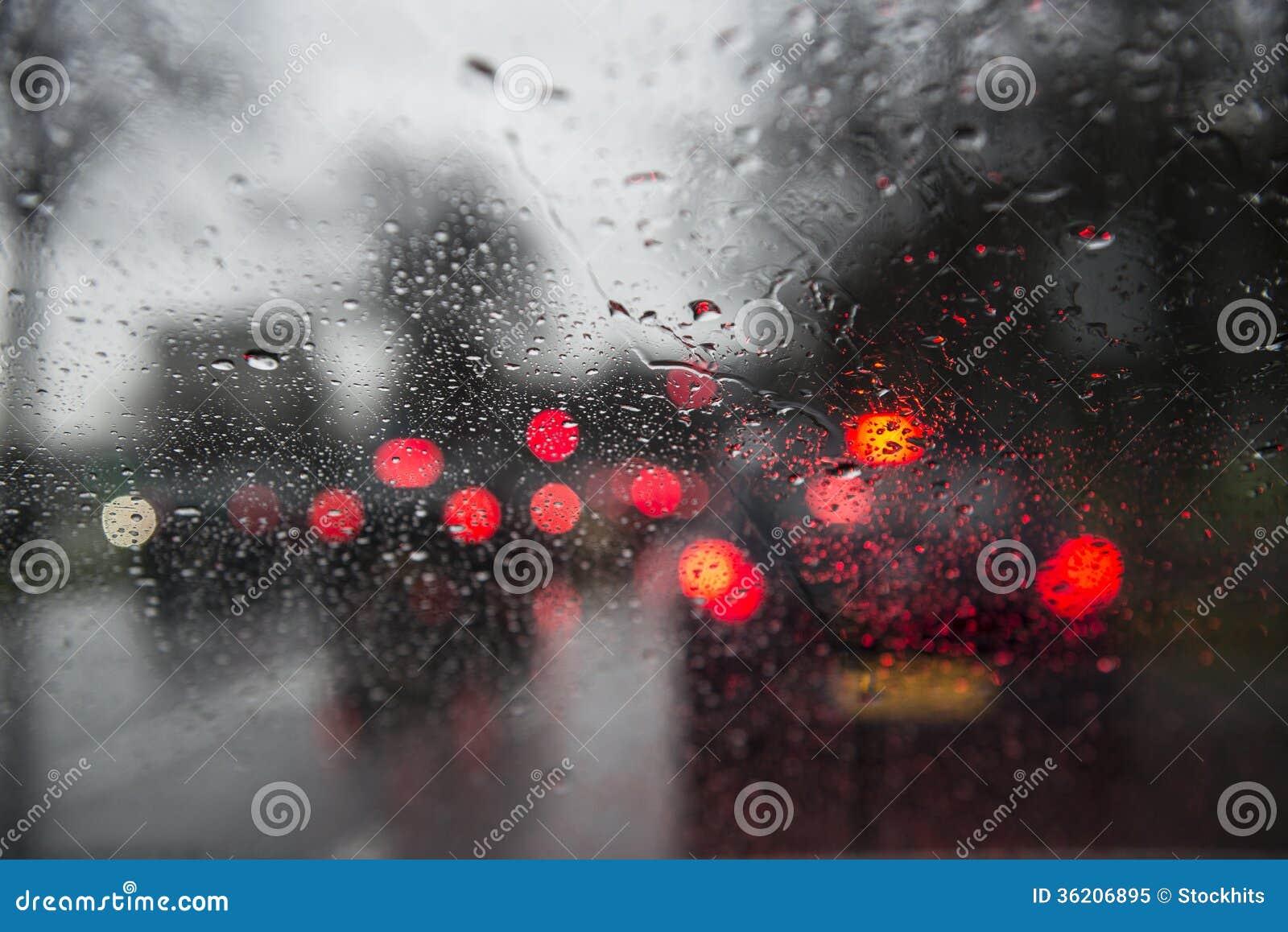 Rainy Car Windscreen Stock Image Image Of Traffic Brakes 36206895