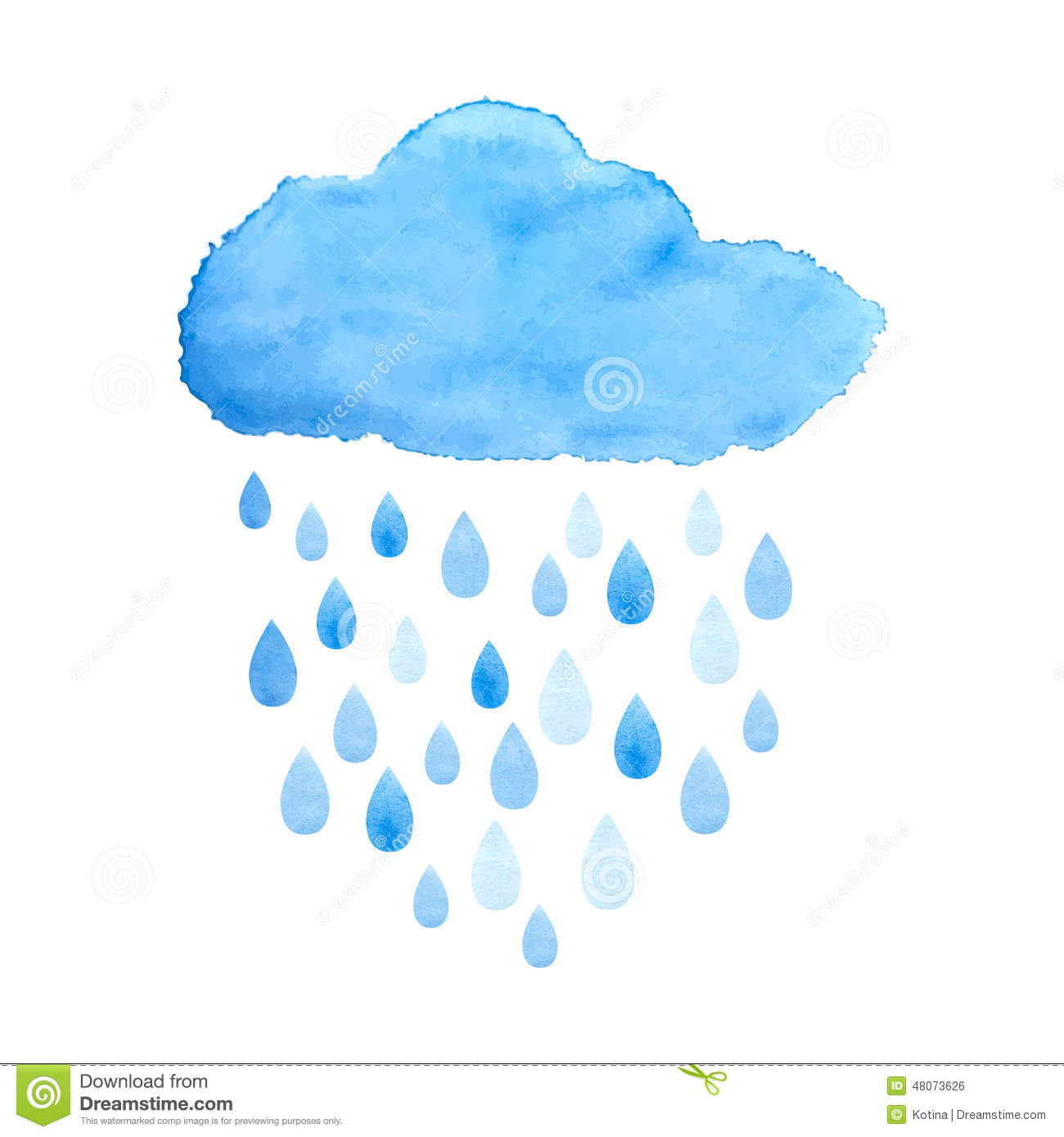 rainy cloud in watercolor vector stock vector clip art raindrops/kids clip art raindrop shape