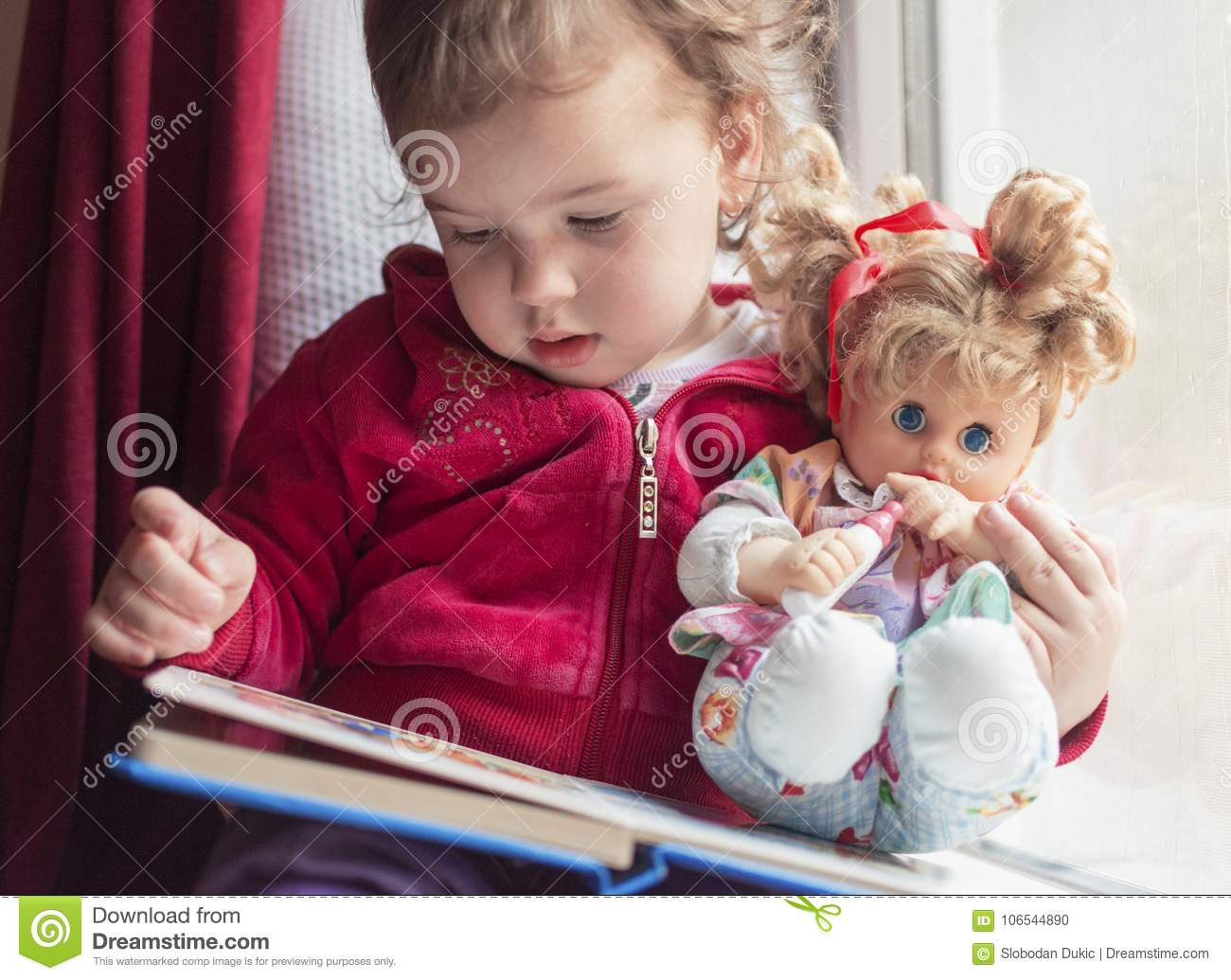 A rainy day is best for reading with your favorite doll