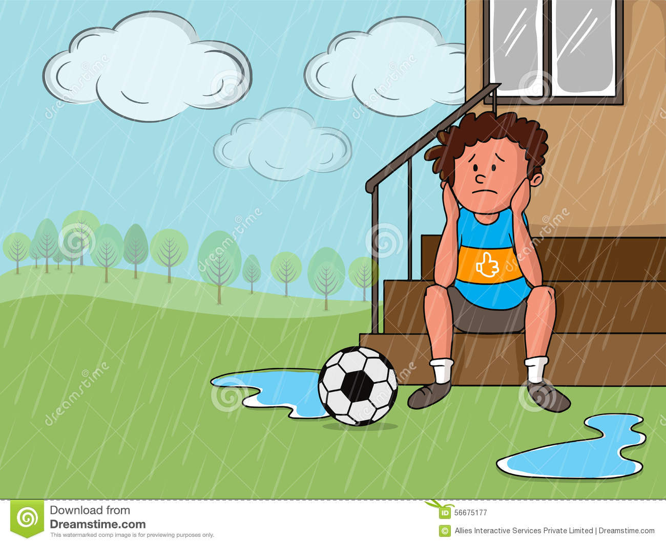 Illustration of a sad little boy with soccer ball in a rainy day on ...