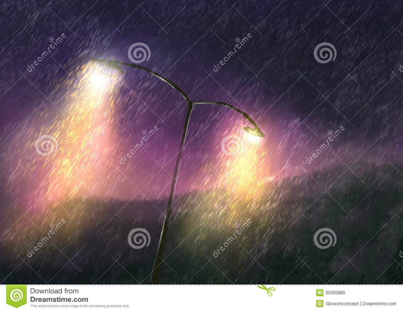 Download Rainy Day At Night With Beautiful Lighting Stock Illustration - Illustration of pattern, glow: 35300885
