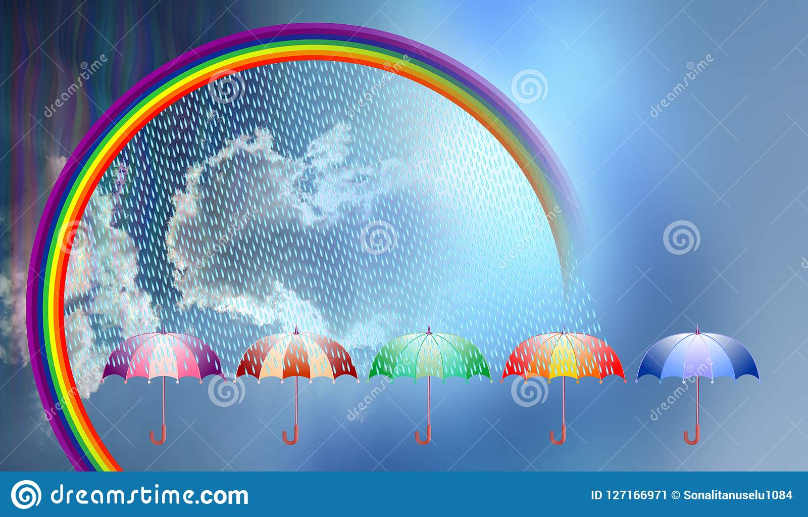 umbrella, rainbow, clouds