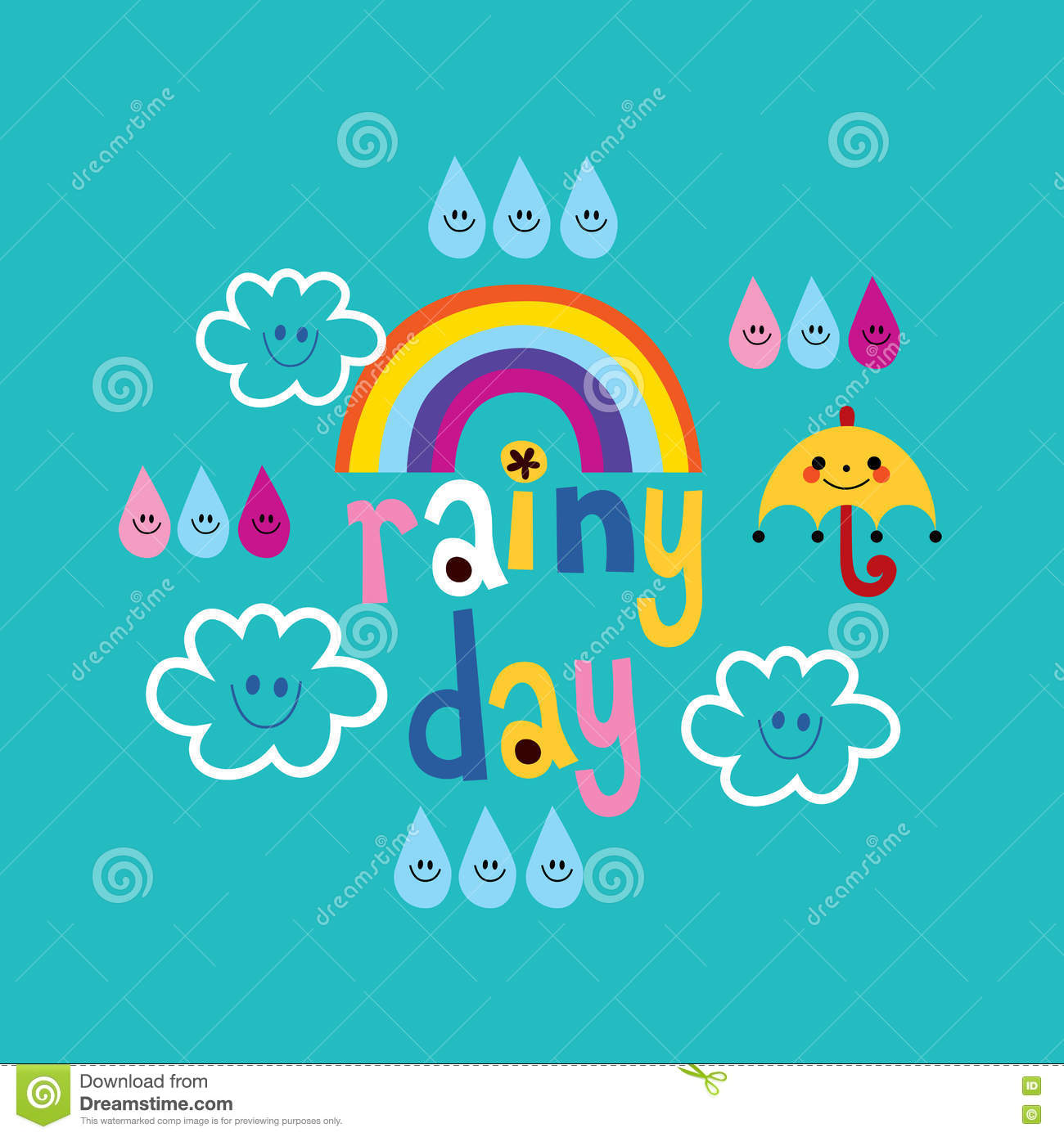 Cute Rainy Day: Rainy Day Weather Design With Cute Clouds Umbrella Rainbow