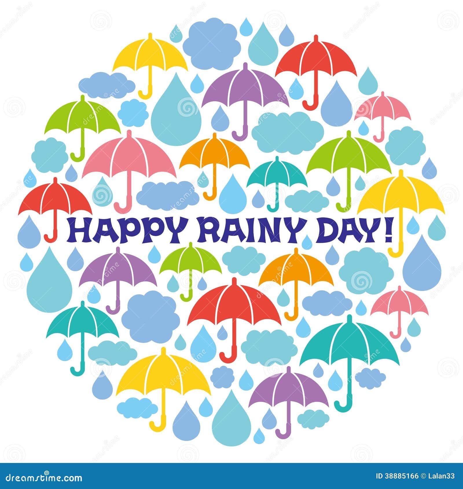 Happy Rainy Day: Rainy Illustrations In Circle. Stock Vector