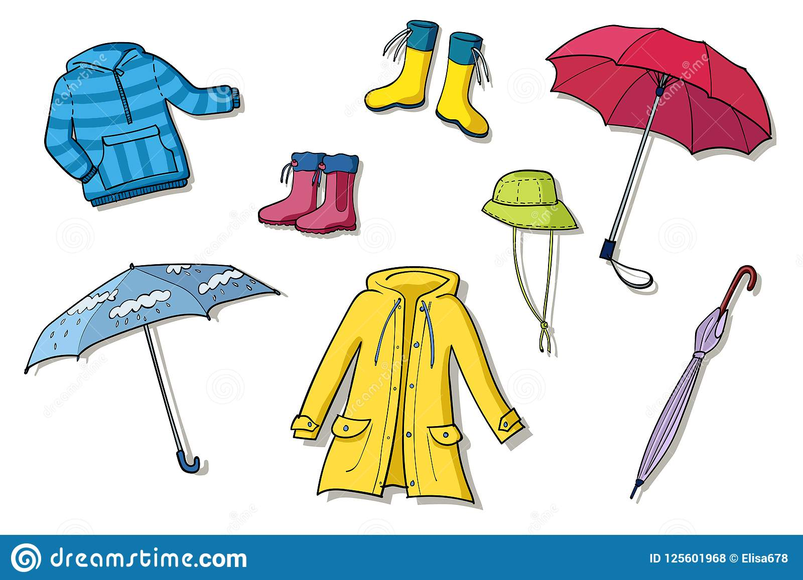 Rainy Weather Clothes Set Of Illustrations Stock Vector ...