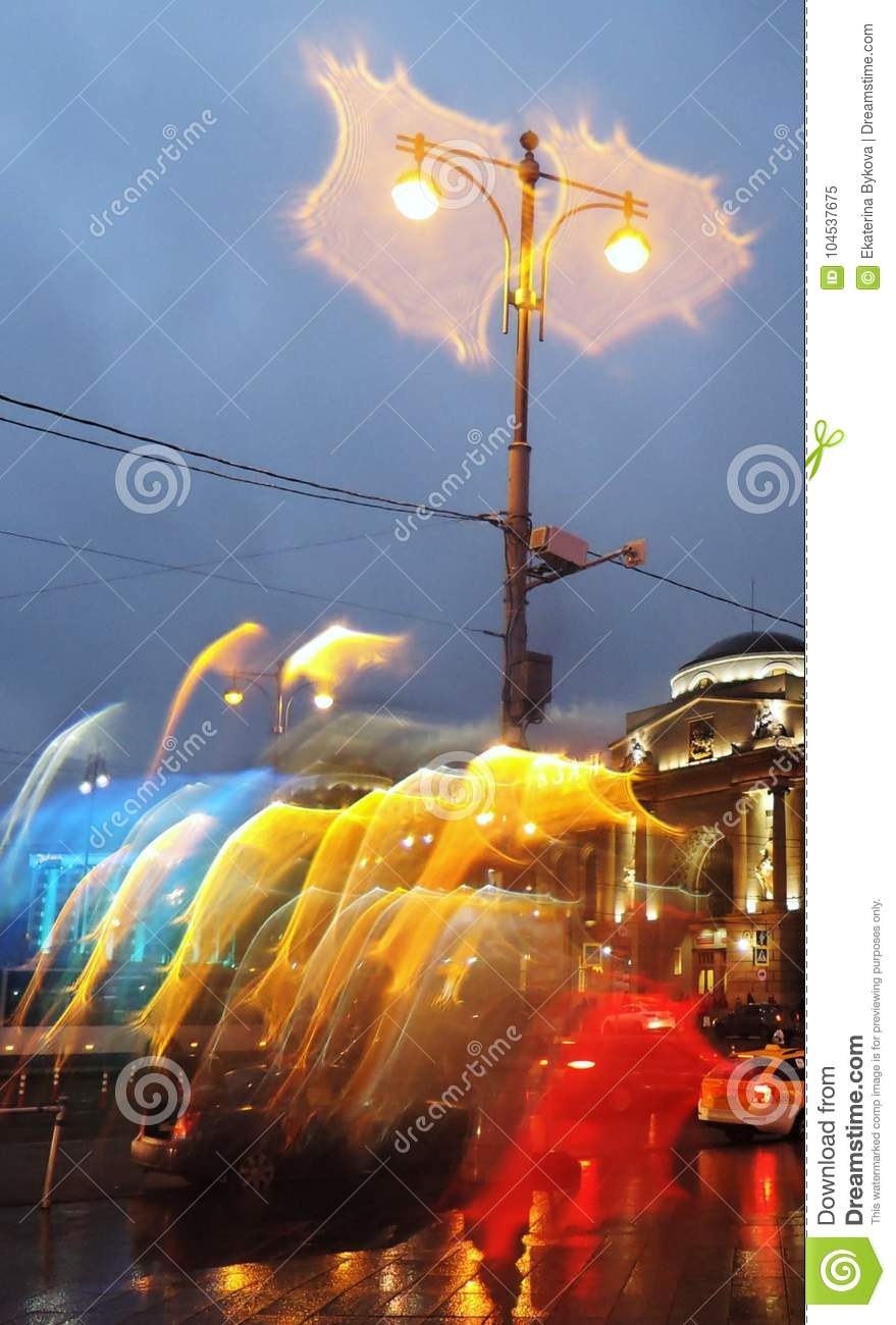 Download Rainy Weather In Moscow City. Color Evening Photo. Stock Image - Image of moscow, road: 104537675