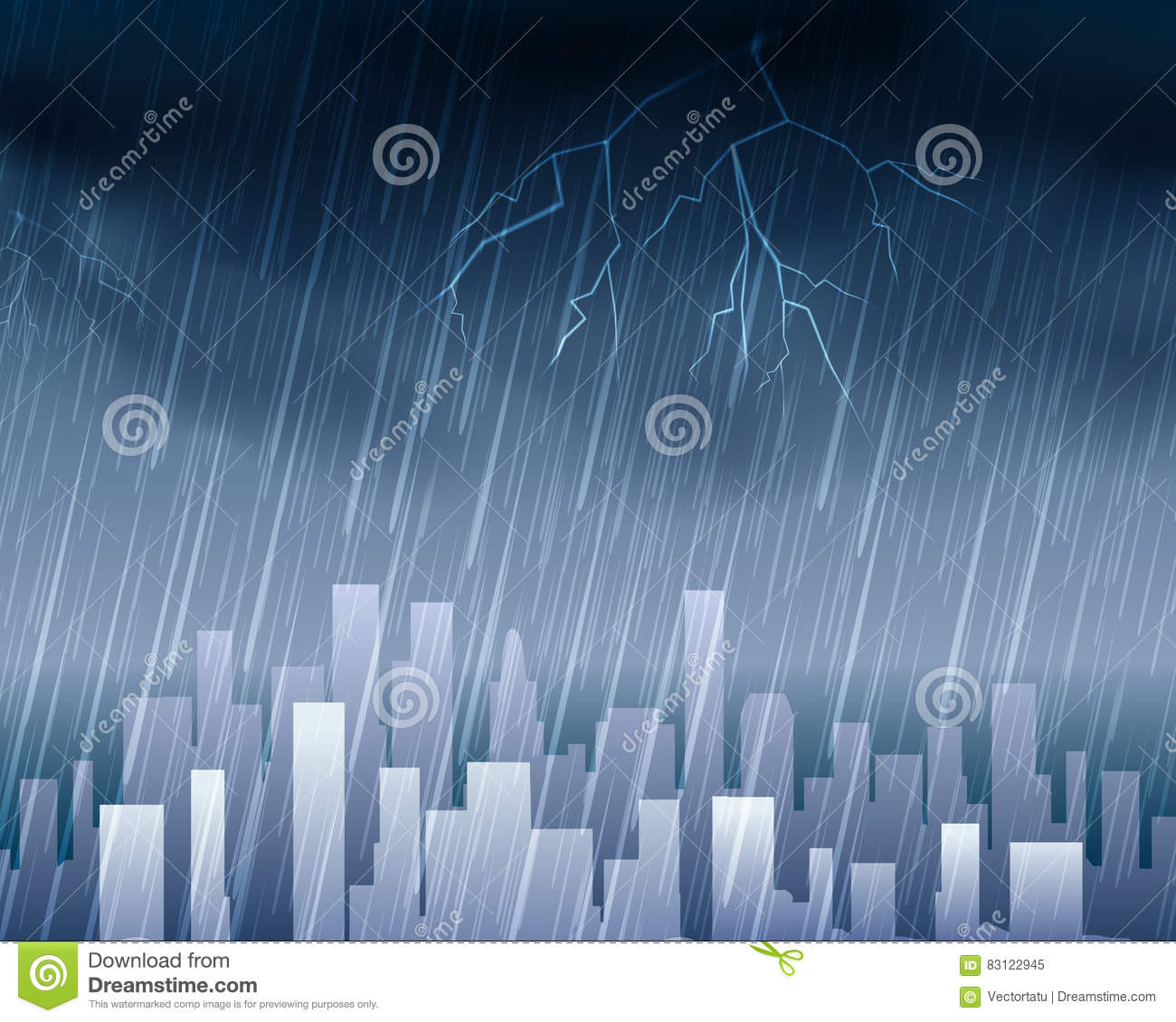 Rainy Weather In Town Blue Background Stock Vector Illustration
