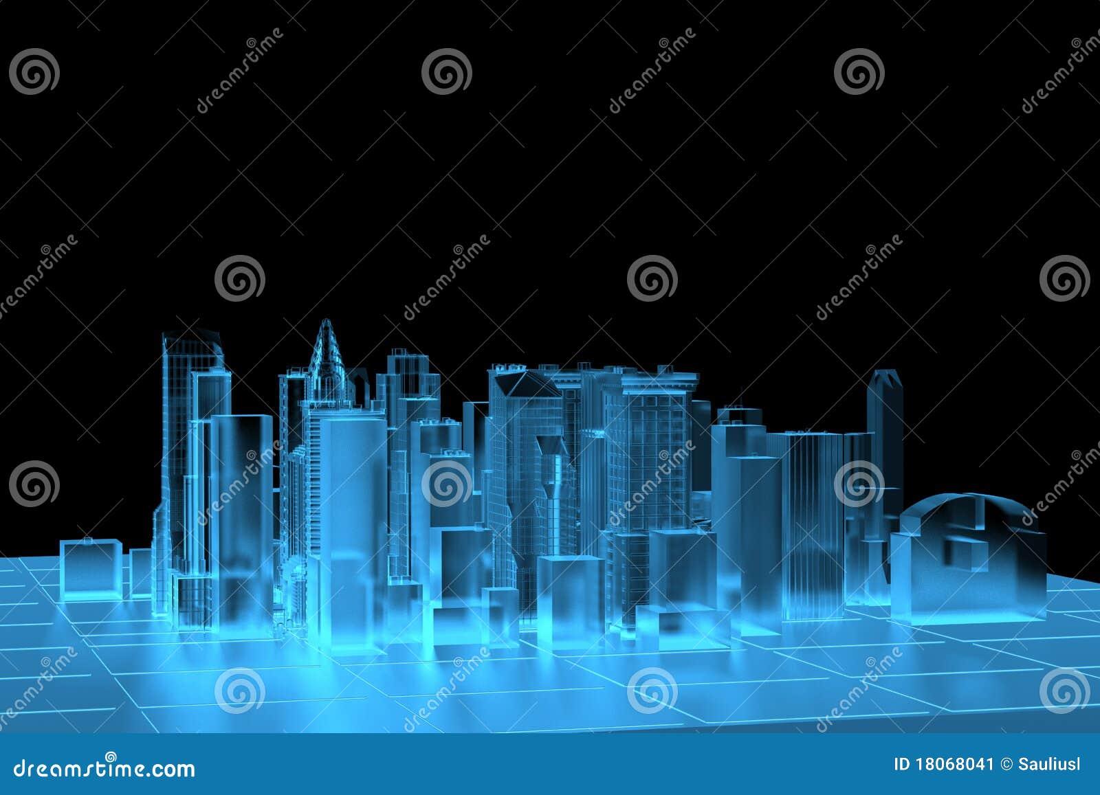 Raio X azul da cidade rendido