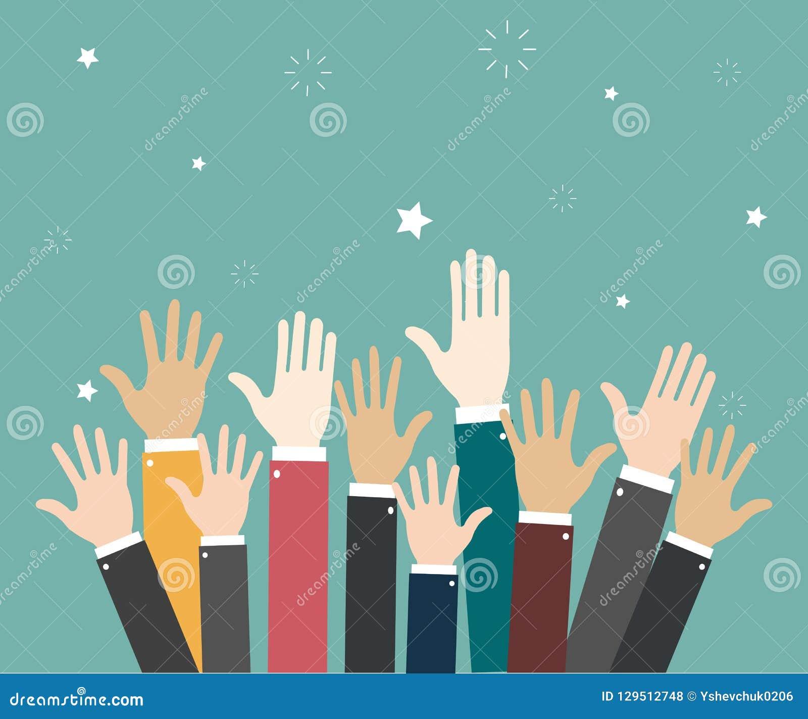 Raise hands Hand gesturing Volunteering Voting. Green background. Vector illustration
