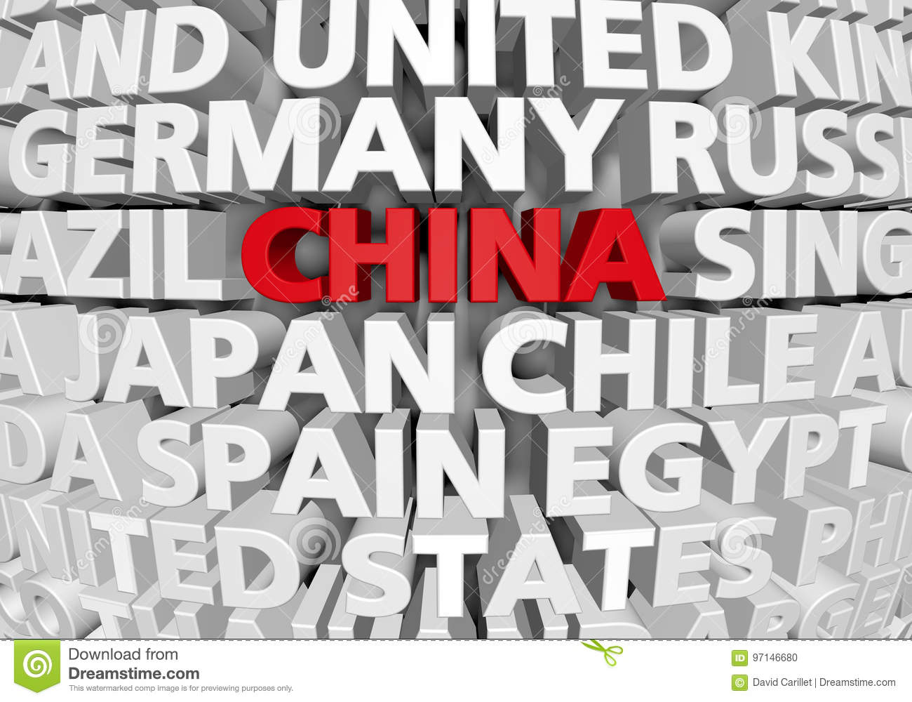 Countries Containing The Letter Z.Raised 3d Text Of World Countries With China Highlighted As