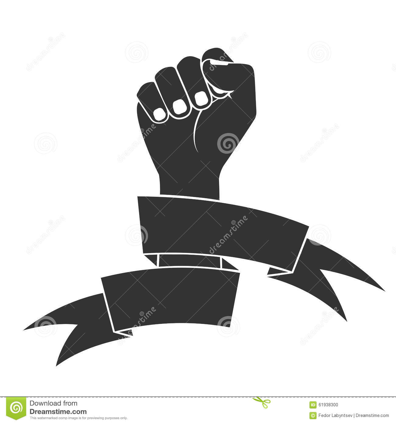 The Raised Fist In Tapes A Fight Symbol For Freedom Stock Vector Image