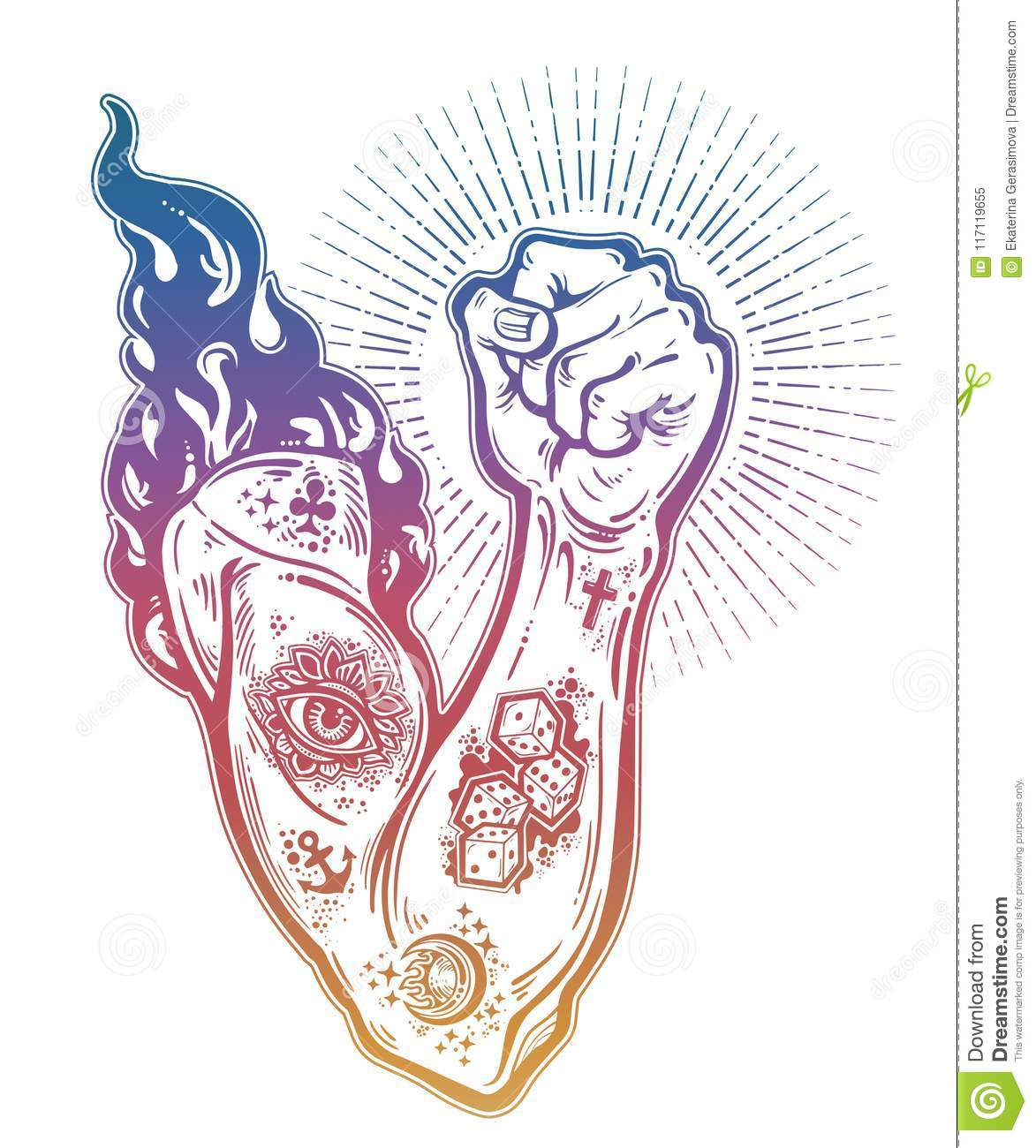 Raised Inked Hand As A Fist Gesture With Fire Burning In Flash ...