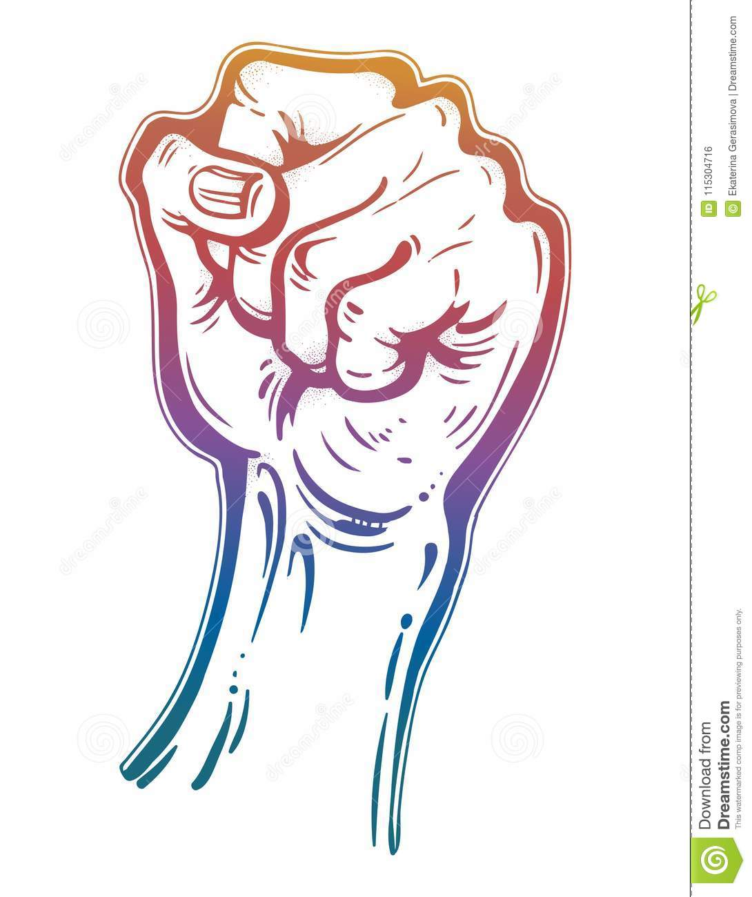 Raised Male Hand As A Fist Power Gesture Stock Vector