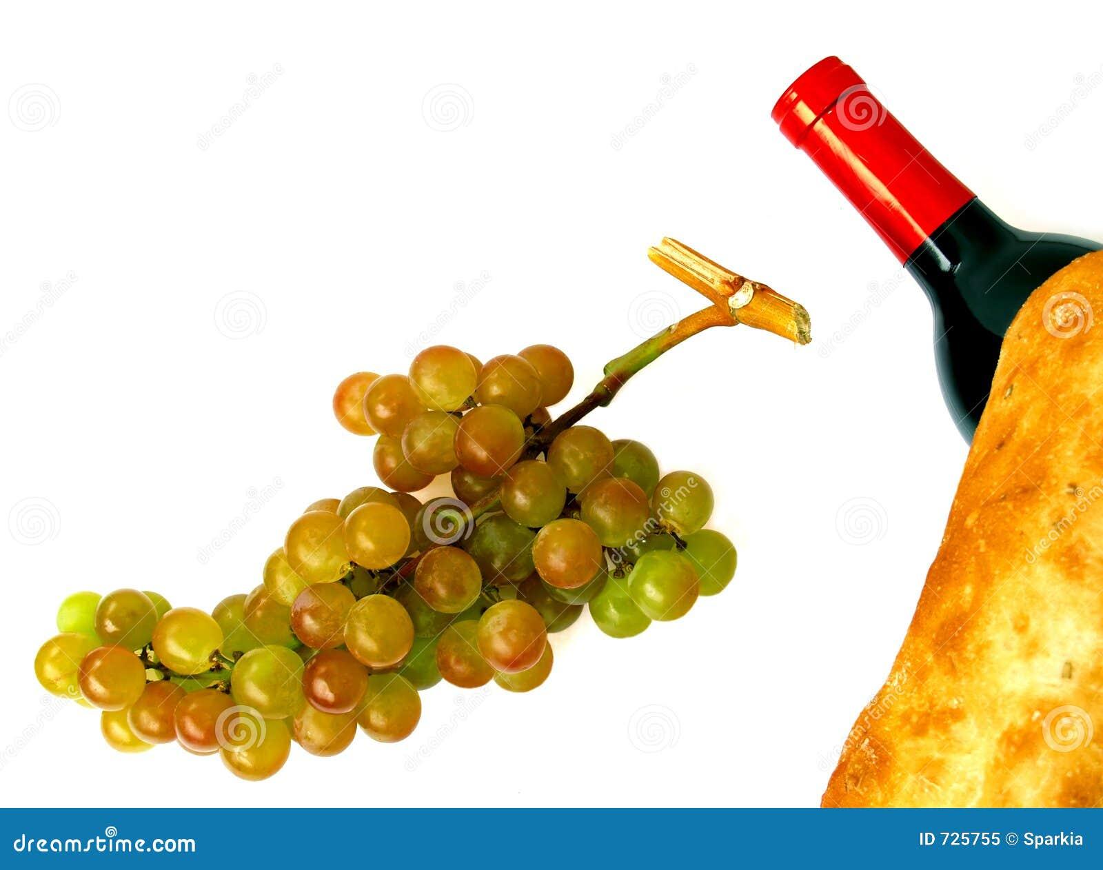 Raisins de muscat, bouteille de vin et pain de pain