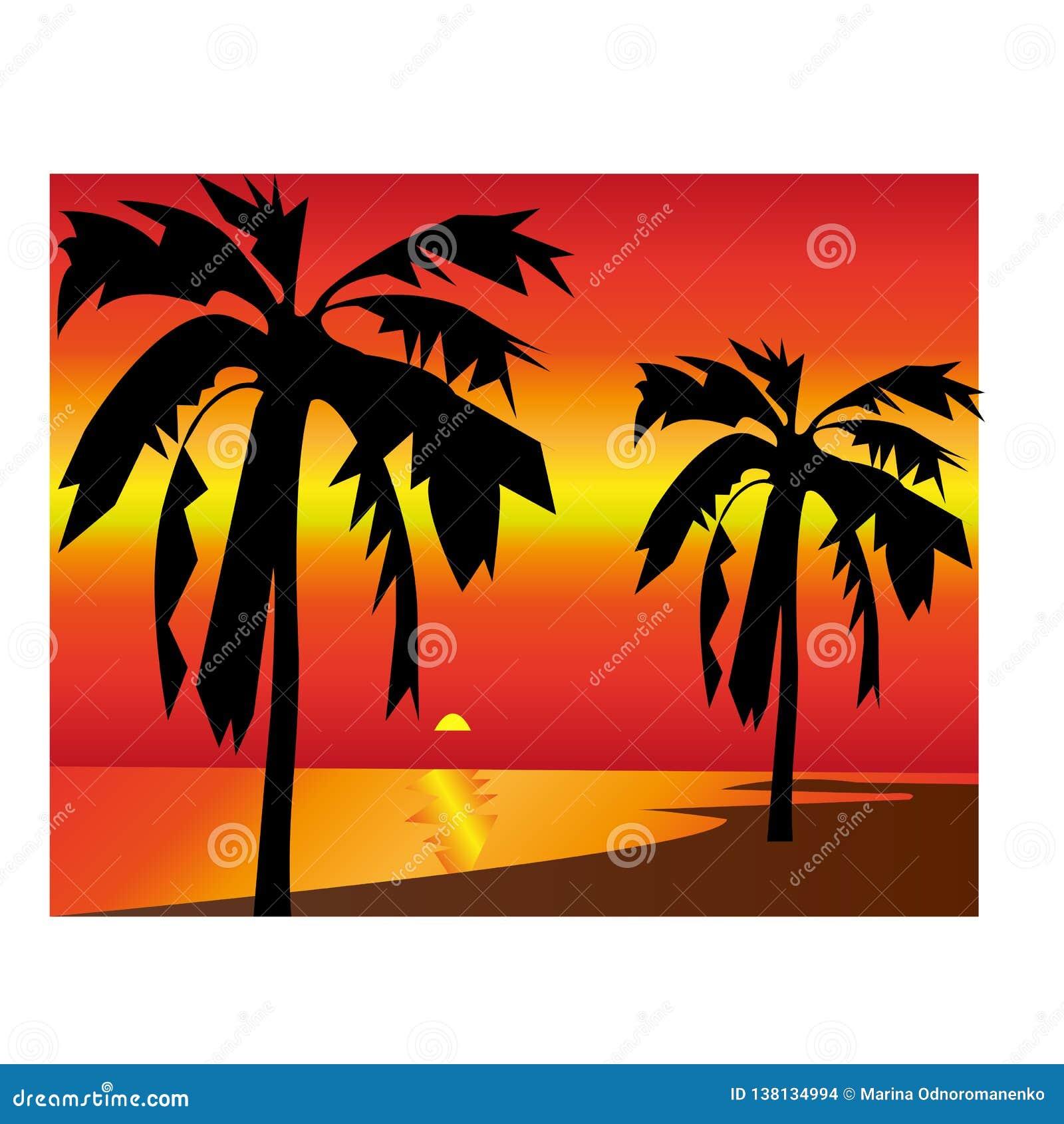Raj palmowej wyspy tropikalna rysująca ilustracja