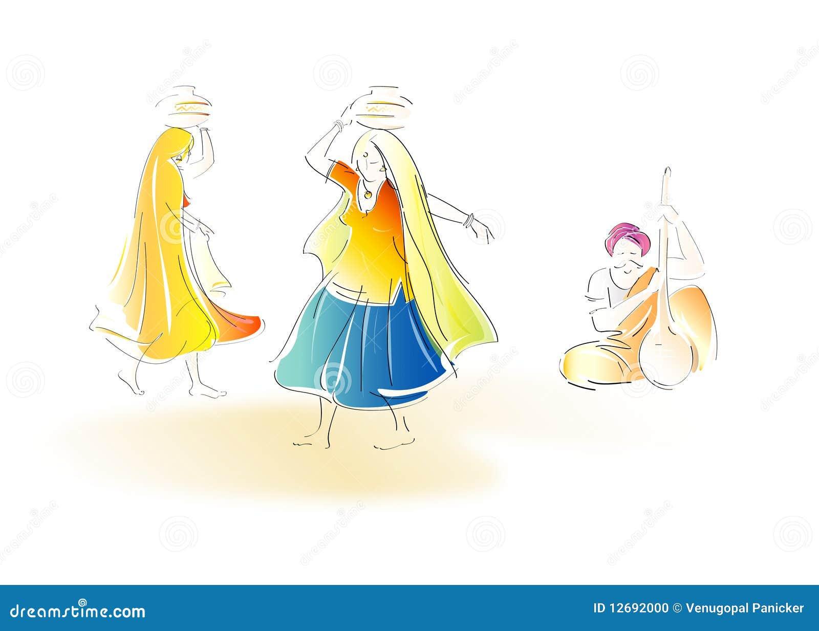 Dancing Rajasthani Couple Cartoon Vector Cartoondealer