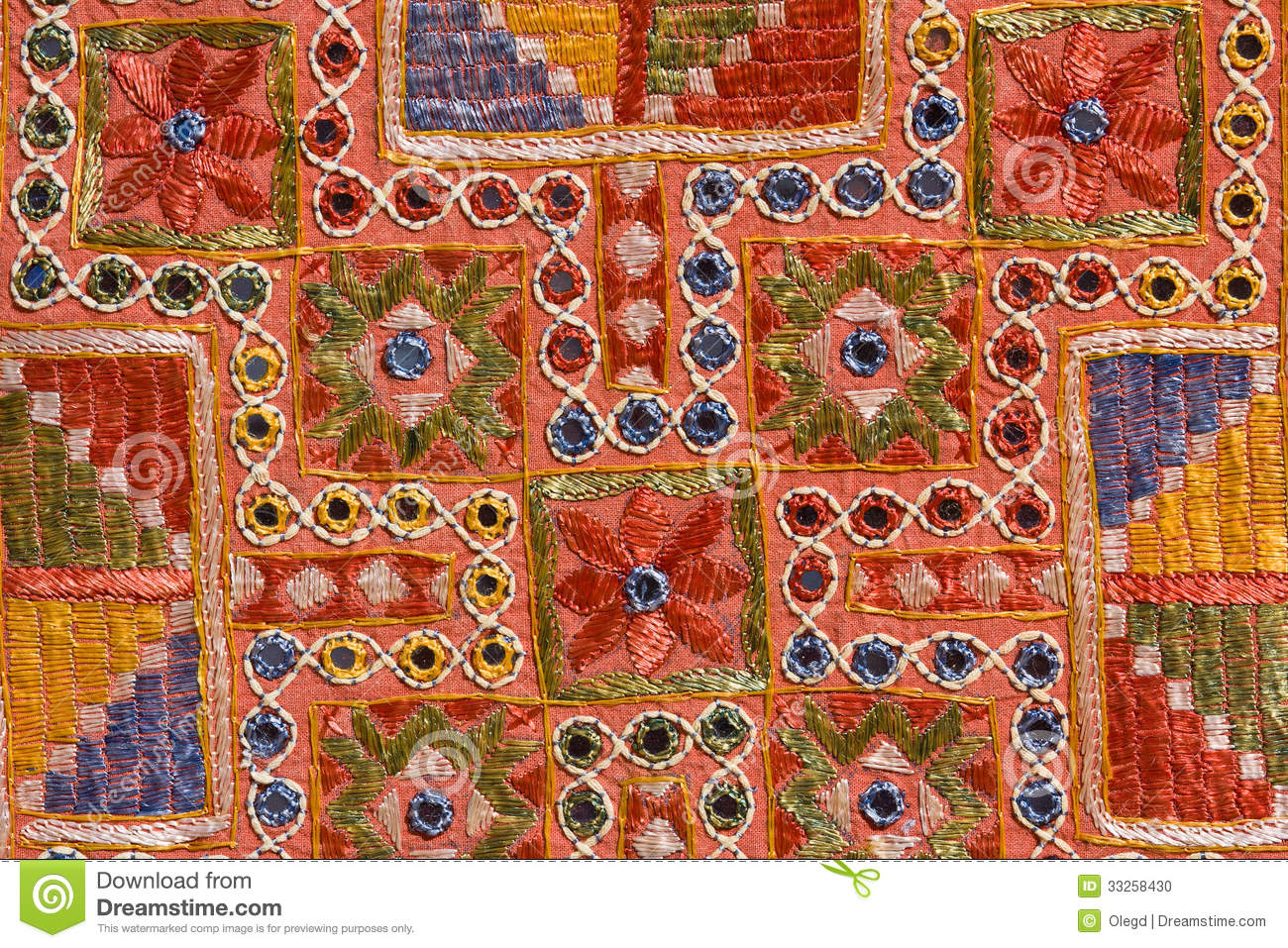 Rajasthani Indian Patchwork Wall Cloth Stock Photo Image