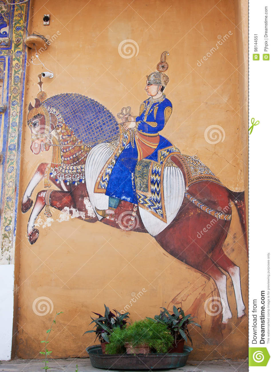 Rajasthani Traditional Style Wall Painting Editorial Photo Image